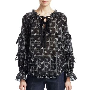 CINQ A SEPT Wildflower Romy Floral Bow Blouse Top